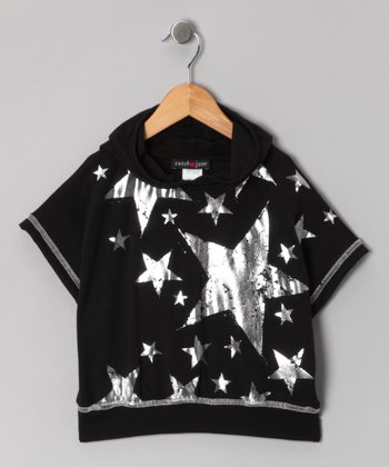 Black Star Short-Sleeve Hoodie - Girls