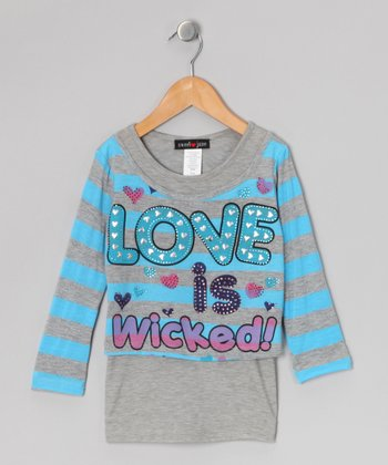 Blue Stripe 'Love is Wicked' Layered Tee - Girls