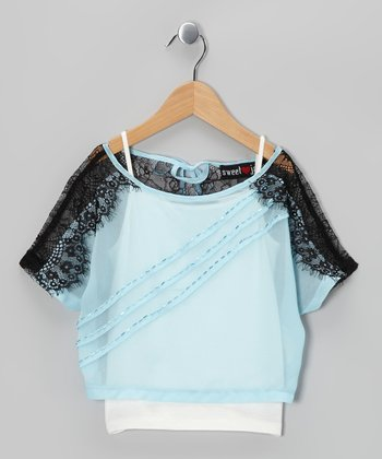 Blue & Black Lace Crop Top & Tank - Girls
