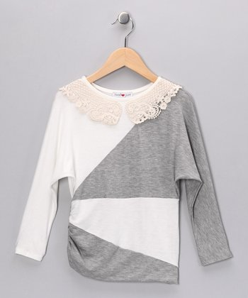 Ivory & Gray Color Block Top - Girls