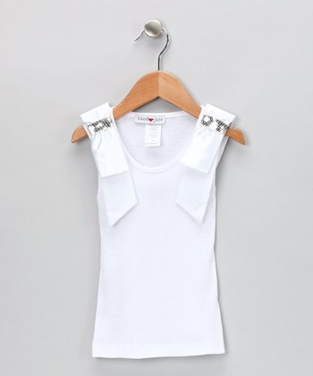White Sequin Ribbon Tank - Girls