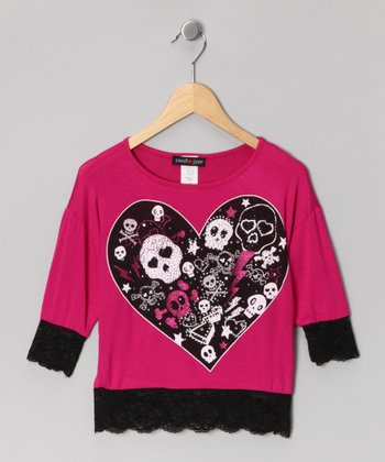 Hot Pink Skeleton Heart Crop Top - Girls