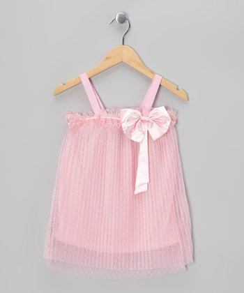 Pink Bow Shift Dress - Girls