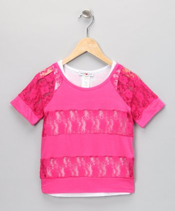 Fuchsia Lace Layered Top - Girls