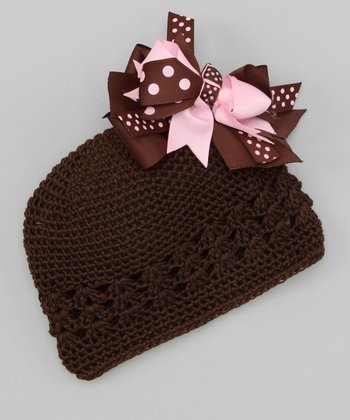 Brown Flower Bow Knit Beanie
