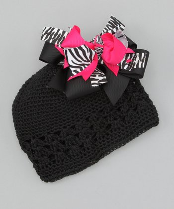 Black Flower Bow Knit Beanie