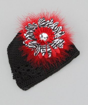 Black & Red Flower Knit Beanie