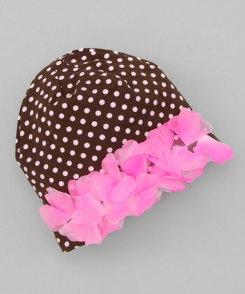 Pink & Brown Polka Dot Beanie