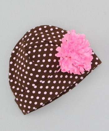 Brown & Pink Polka Dot Flower Beanie