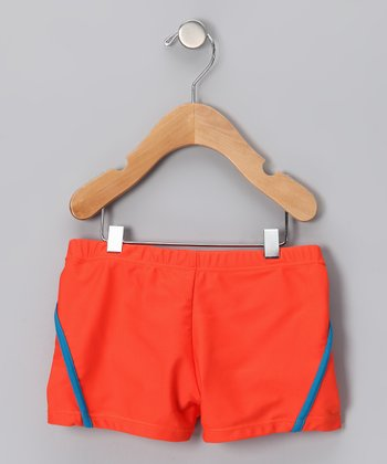Dark Orange & Blue Stripe Swim Shorts - Boys