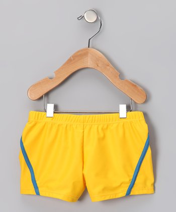 Neon Yellow & Blue Stripe Swim Shorts - Boys