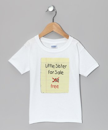 White 'Sister for Sale' Tee - Toddler & Girls