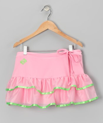 Pink & Green Trim Ruffle Tennis Skort - Girls