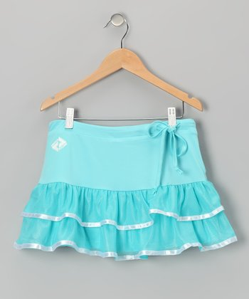 Blue & White Trim Ruffle Tennis Skort - Girls