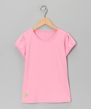 Pink Tennis Puff-Sleeve Tee - Girls
