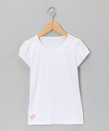 White Tennis Puff-Sleeve Tee - Girls