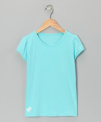 Blue Tennis Puff-Sleeve Tee - Girls
