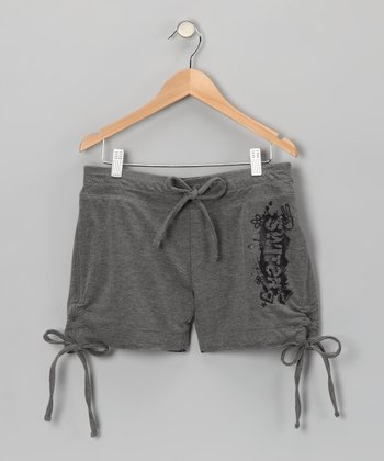 Gray & Black Reversible Shorts - Girls