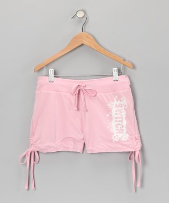 Pink & White Reversible Shorts - Girls