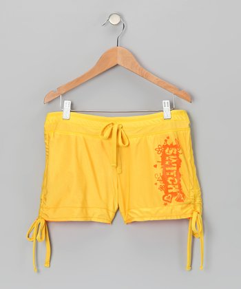 Yellow & Orange Reversible Shorts - Girls