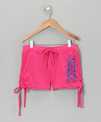Dark Pink & Purple Reversible Shorts - Girls