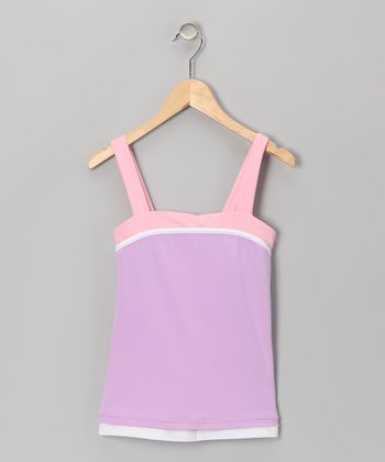 Purple & White Reversible Tennis Tank - Girls