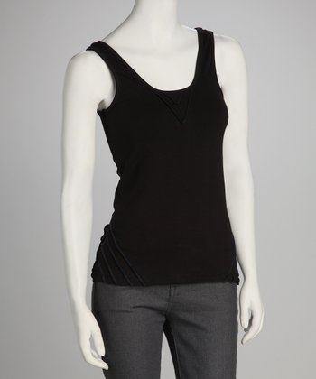 Synergy Black Pico Organic Scoop Neck Tank
