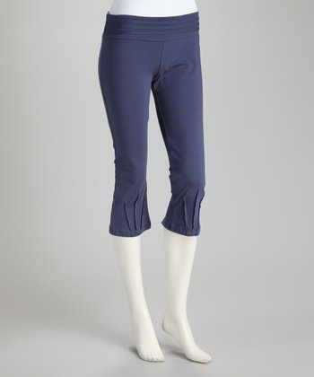 Synergy Navy Pico Organic Cropped Yoga Pants
