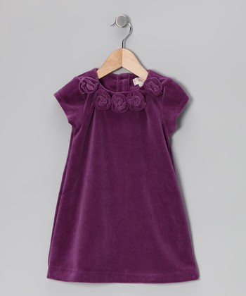 Purple Rosette Velour Dress - Infant, Toddler & Girls