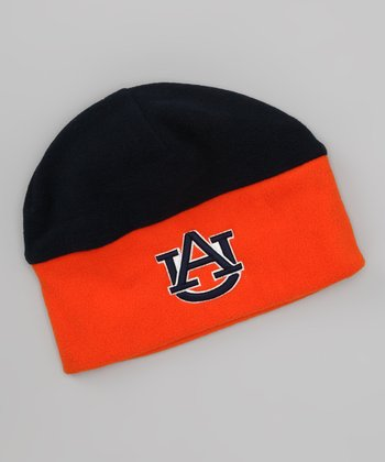 Navy & Orange Auburn Color Block Beanie - Kids