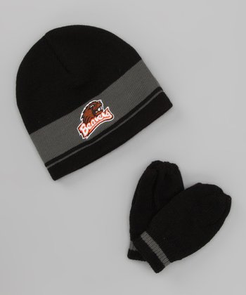 Black Oregon State Stripe Beanie & Mittens - Toddler