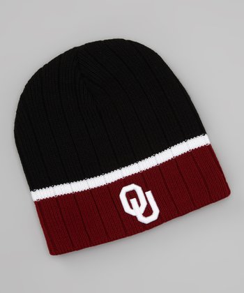 Black & Red Oklahoma Stripe Beanie