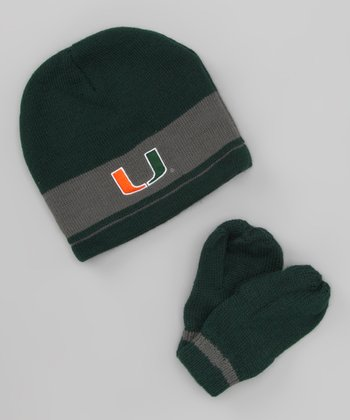 Green Miami Stripe Beanie & Mittens