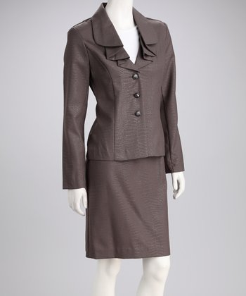 Light Brown Snake Blazer & Skirt
