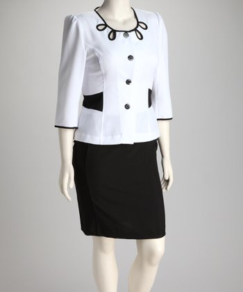 Ivory & Black Cutout Blazer & Skirt