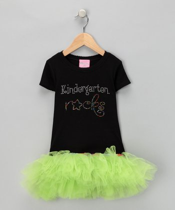 Black & Green 'Kindergarten Rocks' Tutu Tee - Girls