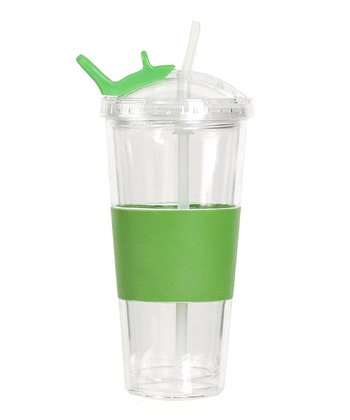 Green Flip & Carry Double-Walled Tumbler