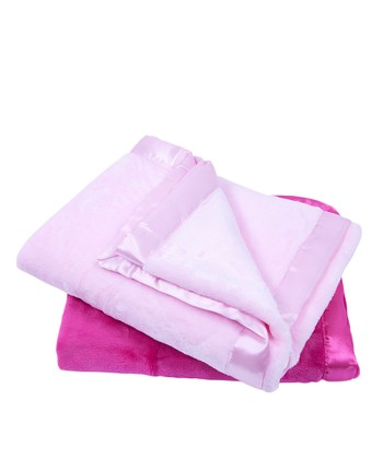 Pink Plush Stroller Blanket Set