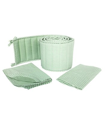 Sage Gingham Cradle Bedding Set