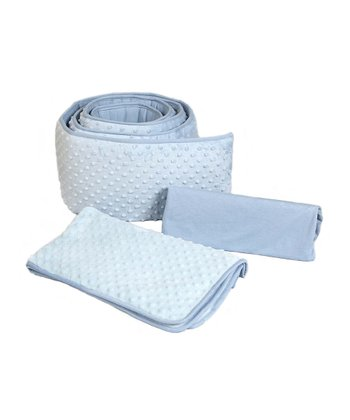 Blue Dimple Velour Cradle Bedding Set