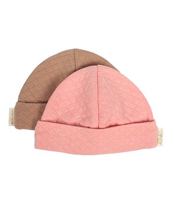 Salmon & Cocoa Double-Knit Organic Beanie Set