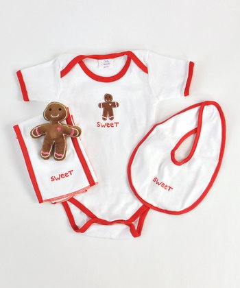 White 'Sweet' Gingerbread Man Layette Set - Infant