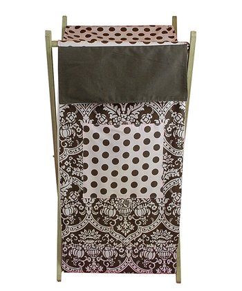 Pink & Brown Damask Hamper