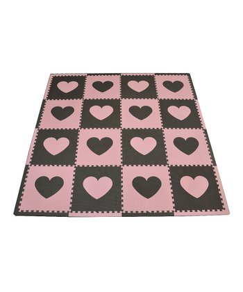 Pink & Brown Heart Play Mat Set