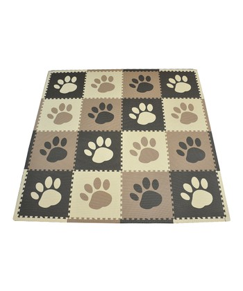 Brown Paw Print Large Play Mat Set