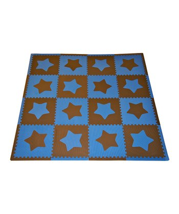Blue & Brown Star Large Play Mat Set