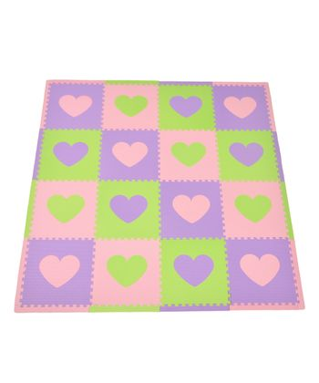 Pink & Green Heart Play Mat Set