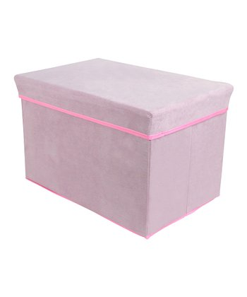 Pink Rectangular Storage Bin Stool