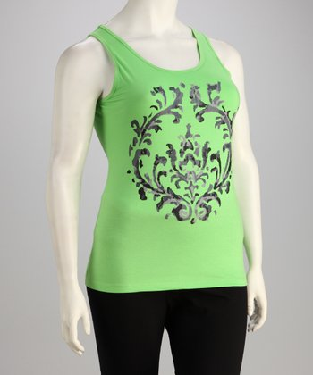 Green Modern Scroll Racerback Tank - Plus