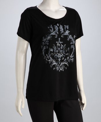 Black Modern Scroll Short-Sleeve Tee - Plus
